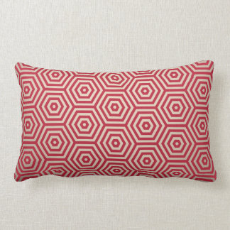 Red & White Hexagon Lumbar Pillow