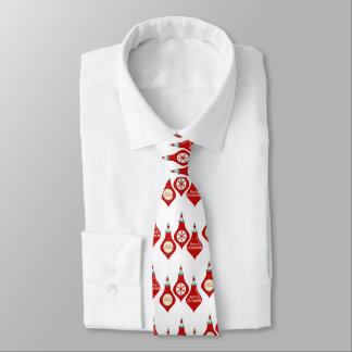 Red White Holiday Bulbs Pattern Tie
