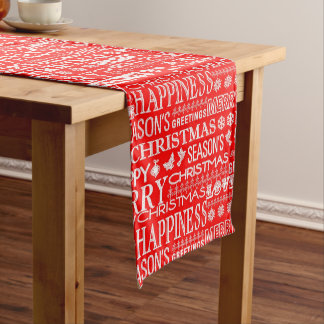 Red & White Holiday Christmas Text Pattern Medium Table Runner