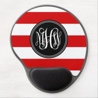 Red White Horiz Stripe #3 Black Vine Monogram Gel Mousepads