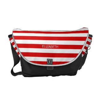 Red White Horizontal Preppy Stripe Name Monogram Courier Bag