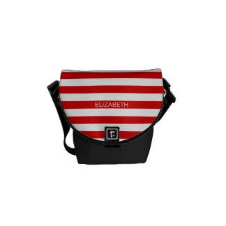 Red White Horizontal Preppy Stripe Name Monogram Messenger Bags