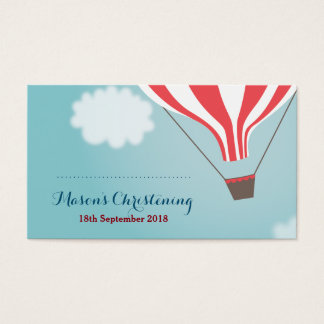 Red White Hot Air Balloon Favor Cards