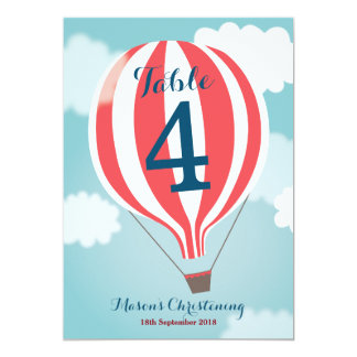 Red White Hot Air Balloon Table Number Card 13 Cm X 18 Cm Invitation Card