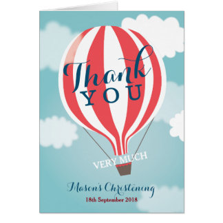 Red White Hot Air Balloon Thank You Note Card