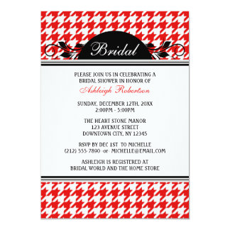 Red & White Houndstooth Bridal Shower Invitations