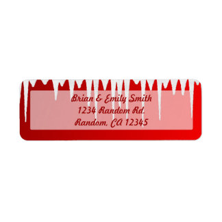 Red white icicle Christmas return address labels