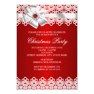 Red & White Lace Jewel Bow Christmas Party Invite