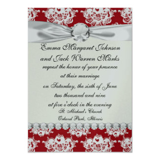 red white large romantic damask 11 cm x 16 cm invitation card