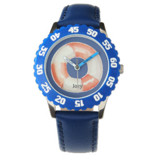 Red White Life Ring Buoy on Blue Personalized Watch