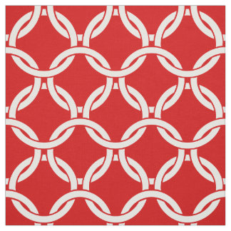 Red, White Linked Circles Pattern #1 Fabric