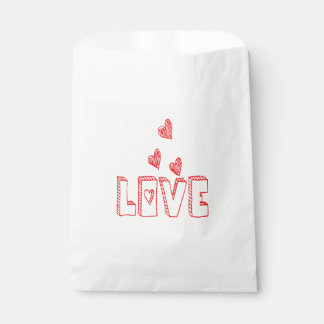 Red & White Love Hearts - Wedding Party Favour Bag