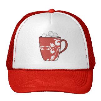 RED WHITE MARSHMELLOW MUG HOT CHOCOLATE SNOWY DAYS TRUCKER HAT