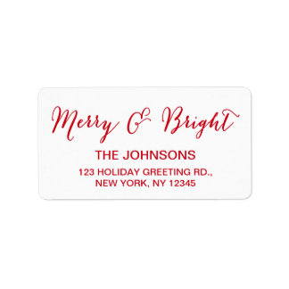 Red White Merry and Bright Script Holiday Address Label