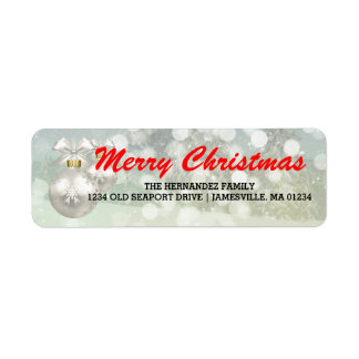 Red White Merry Christmas Return Address Labels