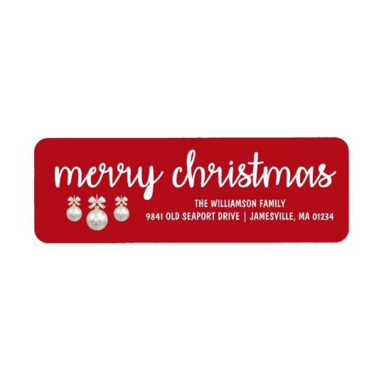 Red & White Merry Christmas Return Address Labels