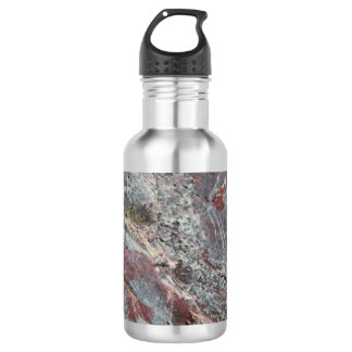Red, White Mineral Texture with Lichen 532 Ml Water Bottle