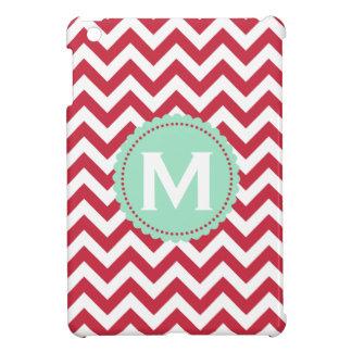 Red White Monogram Chevron Pattern iPad Mini Covers