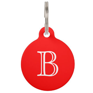 Red White Monogram Initial Name Simple Pet Tags