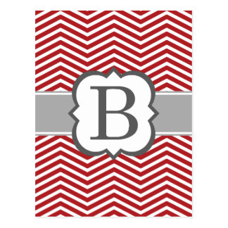 Red White Monogram Letter B Chevron Postcard