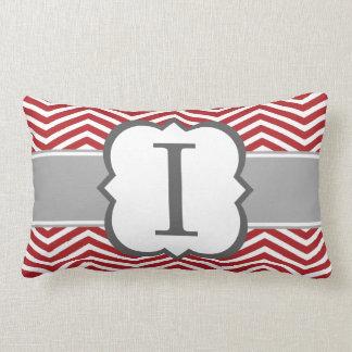 Red White Monogram Letter I Chevron Lumbar Pillow
