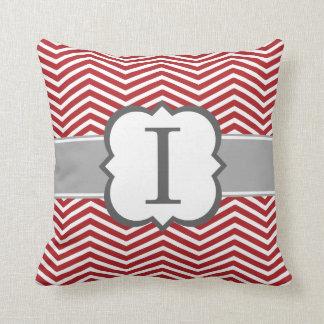 Red White Monogram Letter I Chevron Throw Pillow