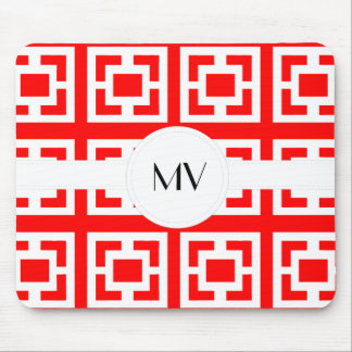 Red White Monogram Pattern Mouse Pad