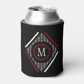 Red & White Monogram With Asian Inspired Patterns Can Cooler