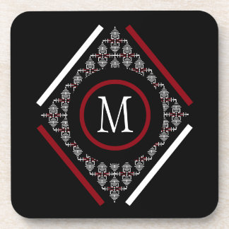 Red & White Monogram With Asian Inspired Patterns Coaster
