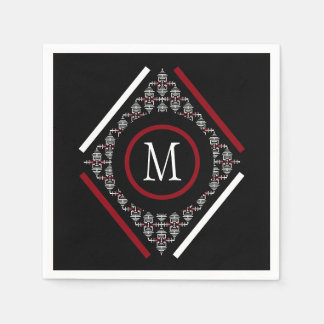 Red & White Monogram With Asian Inspired Patterns Paper Serviettes