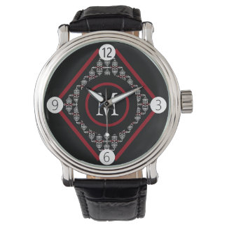 Red & White Monogram With Asian Inspired Patterns Watch