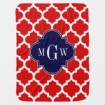 Red, White Moroccan #5 Navy 3 Initial Monogram Baby Blanket