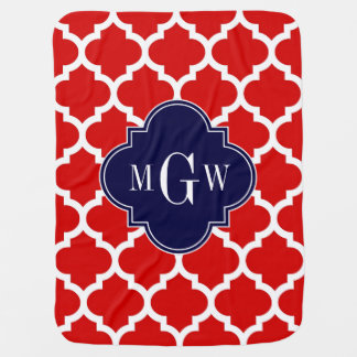 Red, White Moroccan #5 Navy 3 Initial Monogram Swaddle Blankets