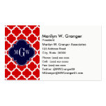 Red, White Moroccan #5 Navy 3 Initial Monogram Pack Of Standard Business Cards