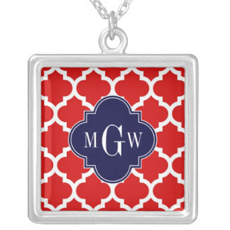 Red, White Moroccan #5 Navy 3 Initial Monogram Square Pendant Necklace