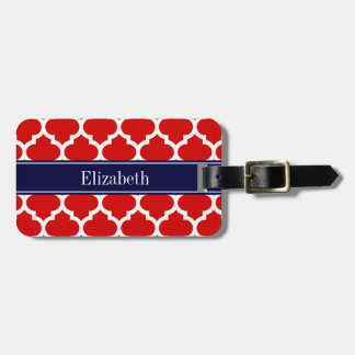 Red White Moroccan #5 Navy Blue Name Monogram Luggage Tag
