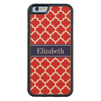 Red White Moroccan #5 Navy Blue Name Monogram Maple iPhone 6 Bumper
