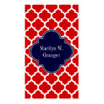 Red White Moroccan #5 Navy Blue Name Monogram Pack Of Standard Business Cards