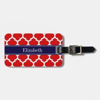 Red White Moroccan #5 Navy Blue Name Monogram Travel Bag Tag