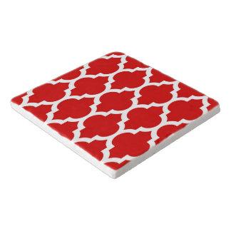 Red White Moroccan Quatrefoil Pattern #4 Trivet