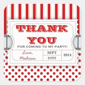 Red White Movie Ticket Birthday Thank You Sticker