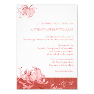 Red + White Mum Floral Monogram Wedding Invitation