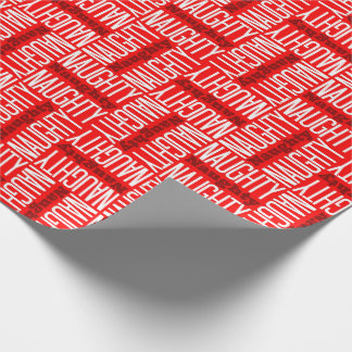 Red & White Naughty Christmas Wrapping Paper