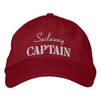 Red White Nautical Captain Custom Embroidered Hat