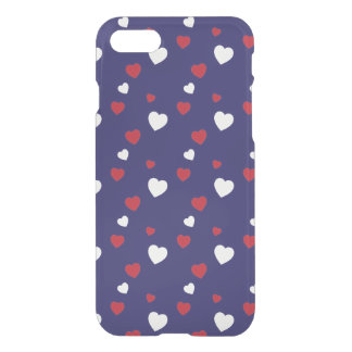 Red, White, Navy Blue Hearts Pattern iPhone 8/7 Case