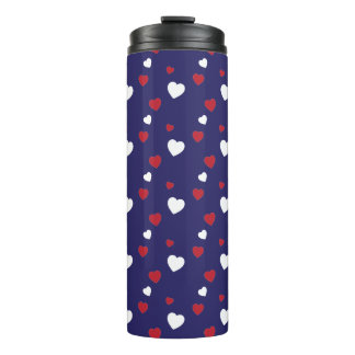 Red, White, Navy Blue Hearts Pattern Thermal Tumbler