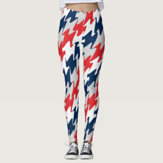 Red White Navy Blue New England Football Colors Leggings