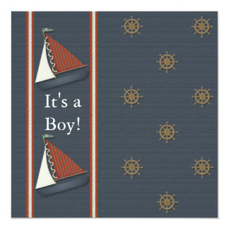 Red White Navy Blue Sailboat Baby Shower Card