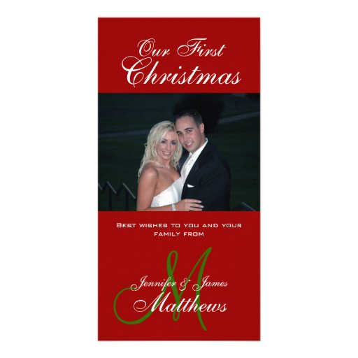Red White Newly Weds First Christmas Photo Card