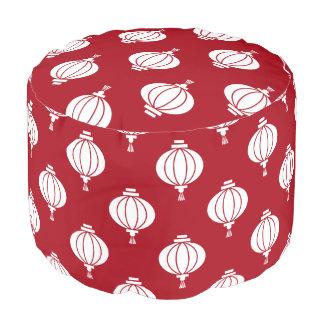 red white paper lanterns oriental pattern pouf
